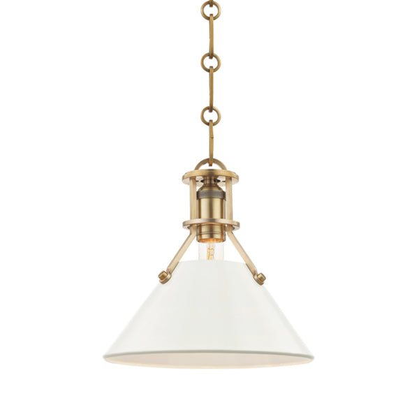 Hudson Valley Lighting MDS351-AGB/OW Painted No.2 1 Light Small Pendant in Aged Brass/Off White