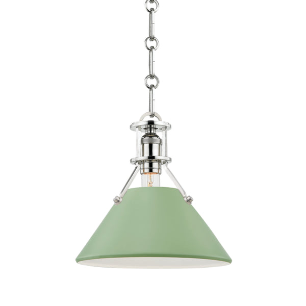 Hudson Valley Lighting MDS351-PN/LFG Painted No.2 1 Light Small Pendant in Polished Nickel/Leaf Green