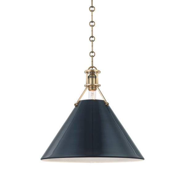 Hudson Valley Lighting MDS352-AGB/DBL Painted No.2 1 Light Large Pendant in Aged Brass/Darkest Blue