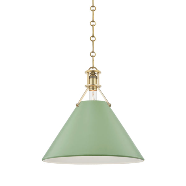 Hudson Valley Lighting MDS352-AGB/LFG Painted No.2 1 Light Large Pendant in Aged Brass/Leaf Green Combo