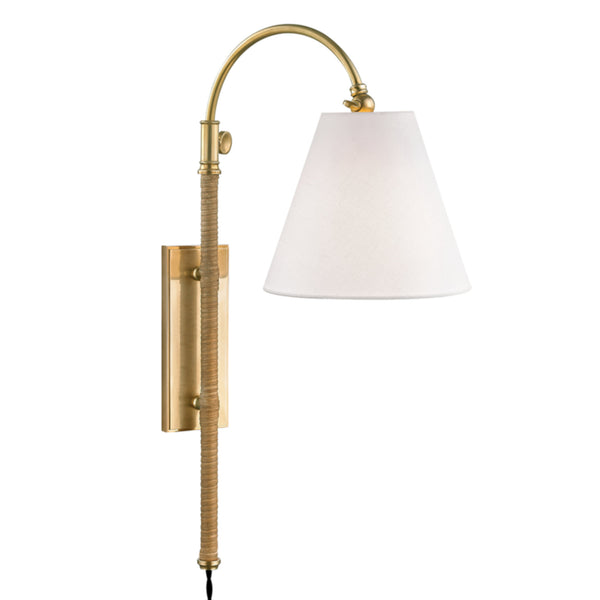 Hudson Valley Lighting MDS501-AGB Curves No.1 1 Light Adjustable Wall Sconce W/ Rattan Accent in Aged Brass