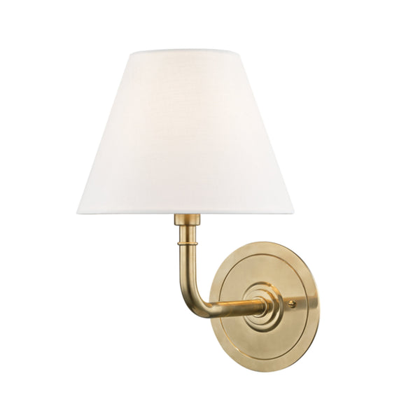 Hudson Valley Lighting MDS600-AGB Signature No.1 1 Light Wall Sconce in Aged Brass