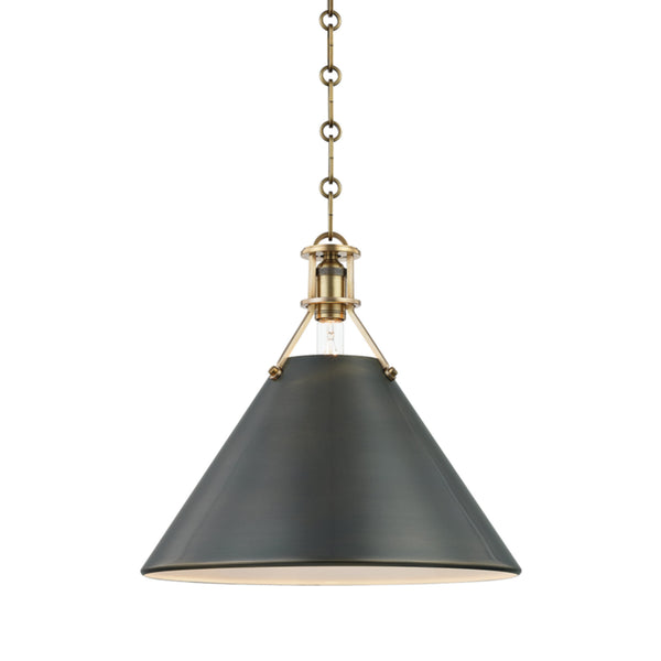 Hudson Valley Lighting MDS952-ADB Metal No.2 1 Light Large Pendant in Aged/Antique Distressed Bronze