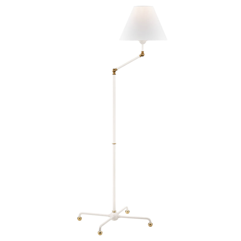 Hudson Valley Lighting MDSL110-AGB/WH Classic No.1 1 Light Floor Lamp in Aged Brass/Soft Off White