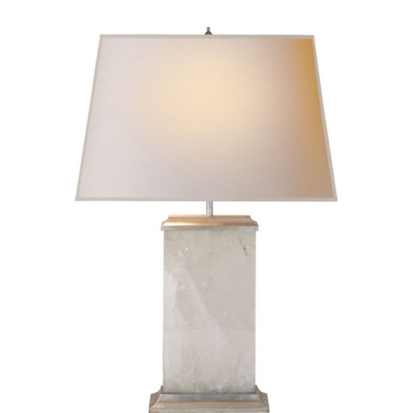Visual Comfort MS 3002QS-NP Michael S Smith Crescent Table Lamp in Natural Quartz Stone with Silver Leaf
