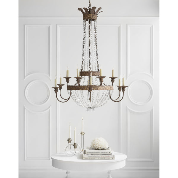 Visual Comfort NW 5016AGP-CG Niermann Weeks Lyon Large Chandelier in Antique Gild and Polychrome