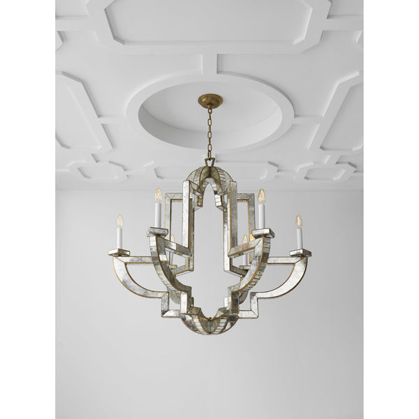 Visual Comfort NW 5041AM/HAB Niermann Weeks Lido Large Chandelier in Antique Mirror with Antique Brass