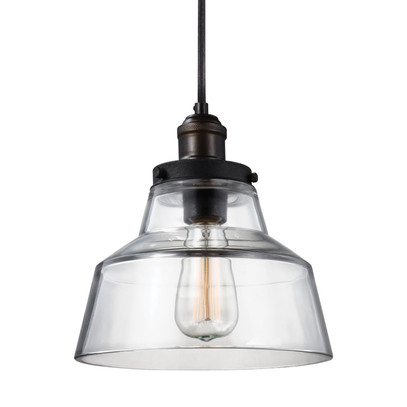 Generation Lighting P1348PAGB/DWZ Feiss Baskin 1 Light Pendant in Painted Aged Brass / Dark Weathered Zinc
