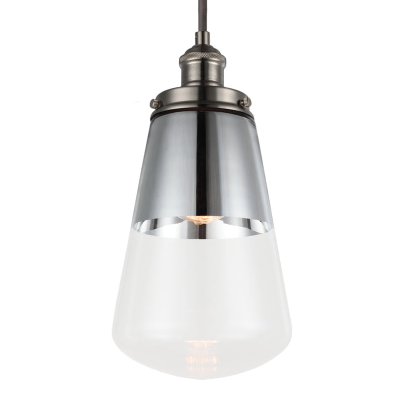 Generation Lighting P1372PN Feiss Waveform 1 Light Pendant in Polished Nickel
