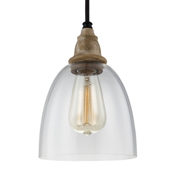 Generation Lighting P1394DFW/DWZ Feiss Matrimonio 1 Light Pendant in Driftwood / Dark Weathered Zinc