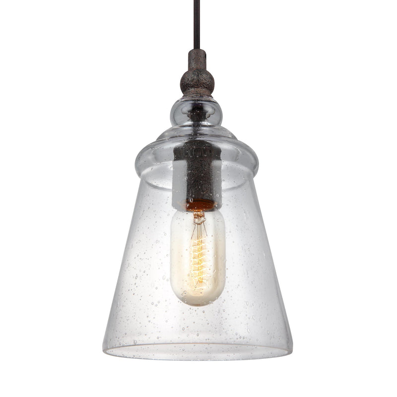 Generation Lighting P1449DWI Feiss Loras 1 Light Pendant in Dark Weathered Iron