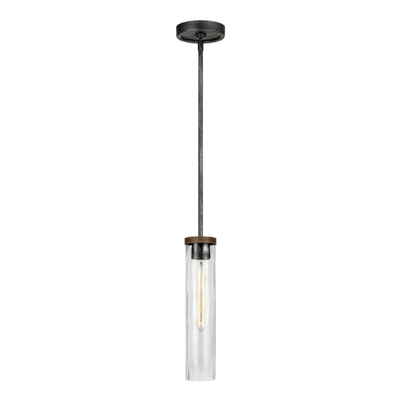 Generation Lighting P1510DWK/SGM Feiss Angelo 1 Light Pendant in Distressed Weathered Oak / Slate Grey Metal