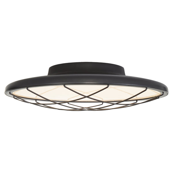 "Visual Comfort PB 4001MBK Peter Bristol Dot 13"" Caged Flush Mount in Matte Black"