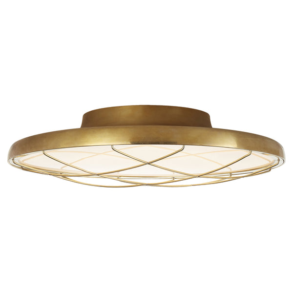 "Visual Comfort PB 4001NB Peter Bristol Modern Dot 13"" Caged Flush Mount in Natural Brass"