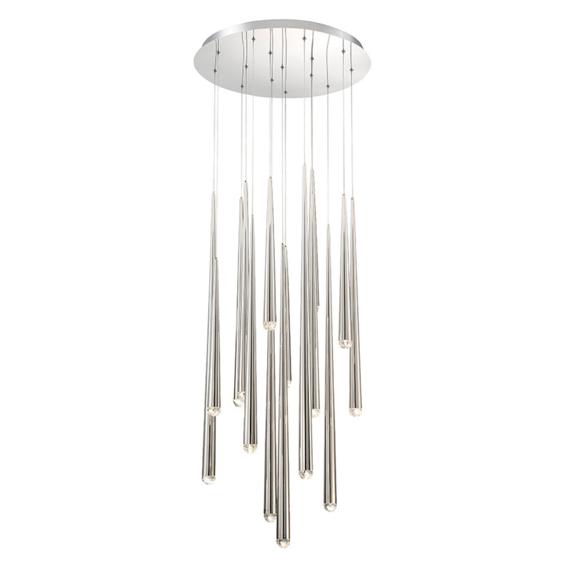 Modern Forms PD-41715R-PN 3500K 105 Watt Cascade Crystal LED Round Chandelier in Polished Nickel