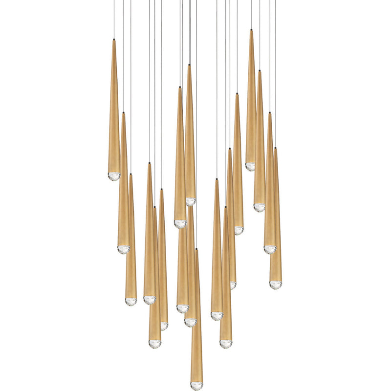 Modern Forms PD-41721R-AB 3500K 147 Watt Cascade Crystal LED Round Chandelier in Aged Brass