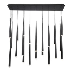 Modern Forms PD-41723L-BK 3500K 161 Watt Cascade Crystal LED Linear Chandelier in Black