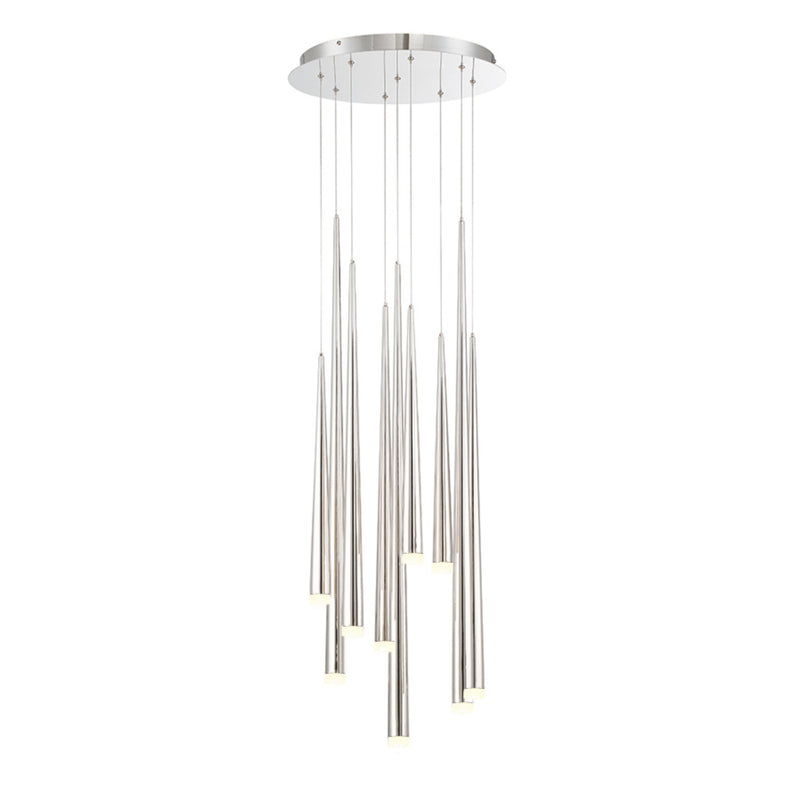 Modern Forms PD-41809R-PN 3500K 63 Watt Cascade Etched Glass LED Round Chandelier in Polished Nickel