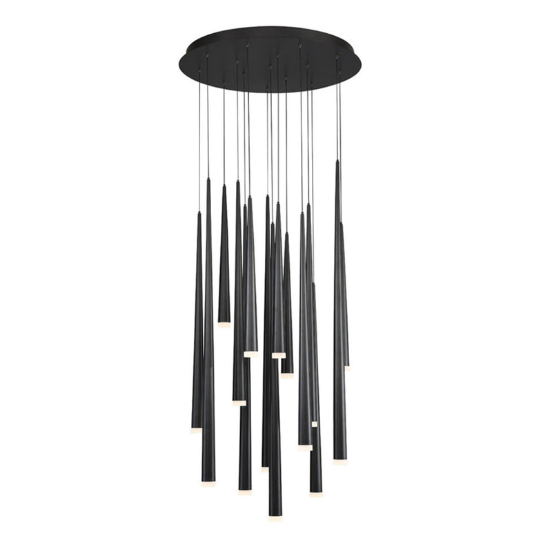 Modern Forms PD-41815R-BK 3500K 105 Watt Cascade Etched Glass LED Round Chandelier in Black