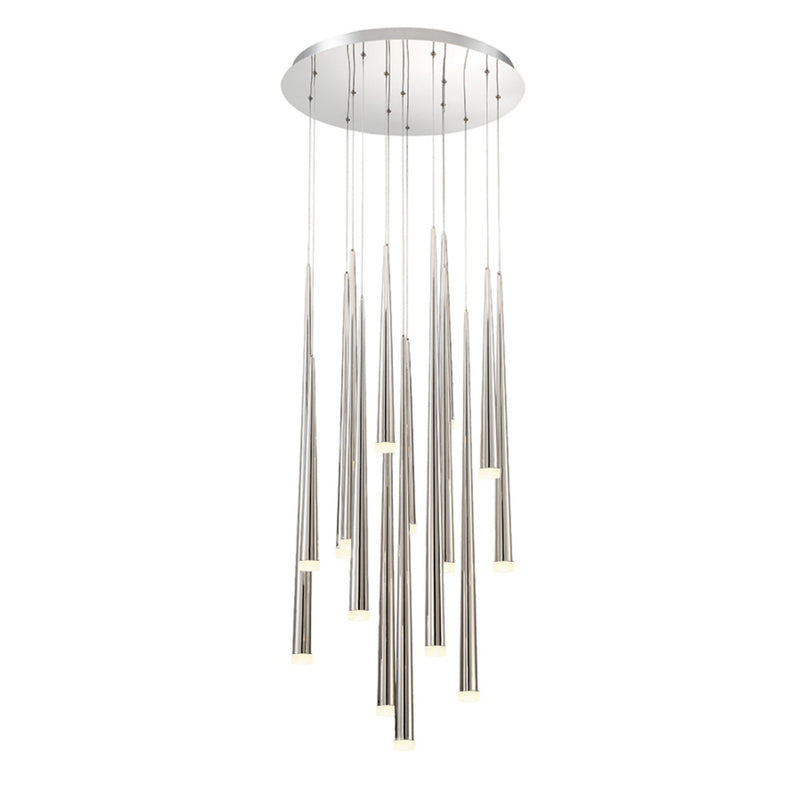 Modern Forms PD-41815R-PN 3500K 105 Watt Cascade Etched Glass LED Round Chandelier in Polished Nickel