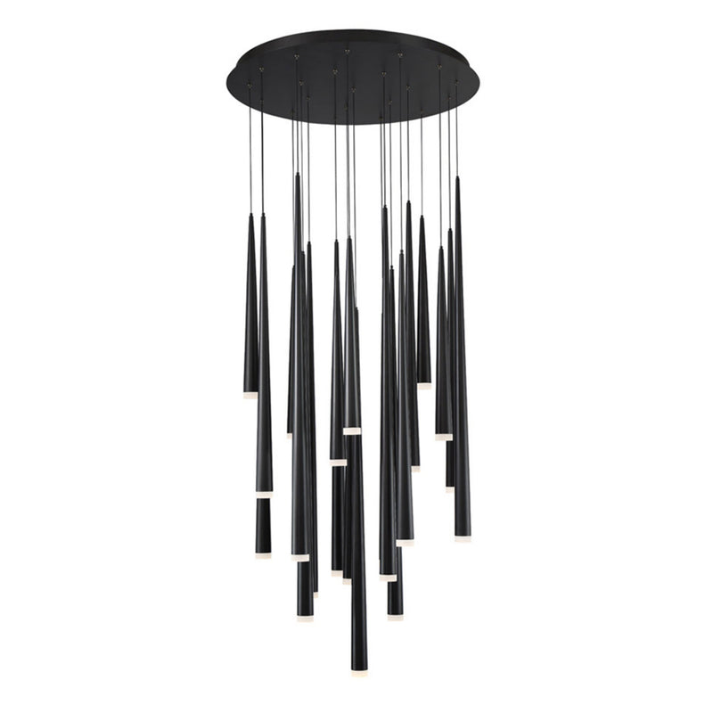 Modern Forms PD-41821R-BK 3500K 147 Watt Cascade Etched Glass LED Round Chandelier in Black