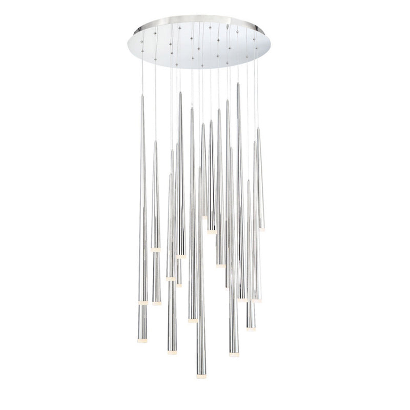 Modern Forms PD-41821R-PN 3500K 147 Watt Cascade Etched Glass LED Round Chandelier in Polished Nickel