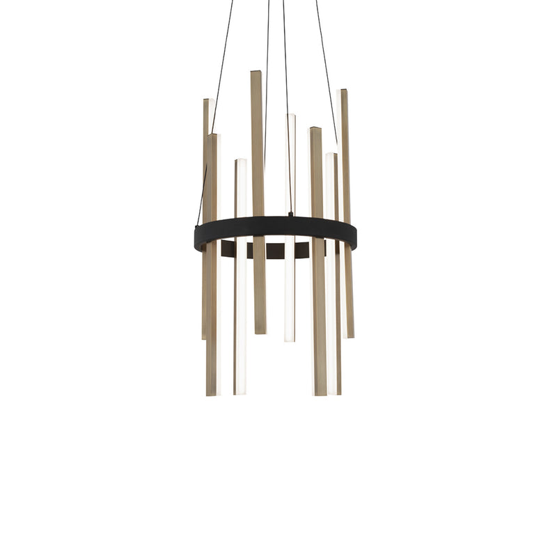 Modern Forms PD-87914-BK/AB 3000K 46.508 Watt Harmonix LED Round Pendant in Black & Aged Brass