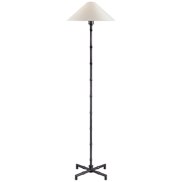 Visual Comfort S 1177BZ-PL Studio VC Modern Grenol Floor Lamp in Bronze with Natural Percale Shade