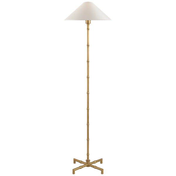 Visual Comfort S 1177HAB-PL Studio VC Modern Grenol Floor Lamp in Hand-Rubbed Antique Brass with Natural Percale Shade