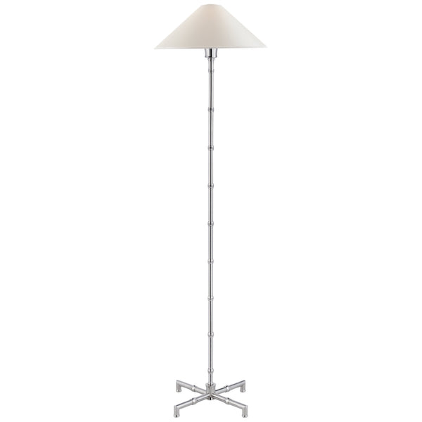 Visual Comfort S 1177PN-PL Studio VC Modern Grenol Floor Lamp in Polished Nickel with Natural Percale Shade