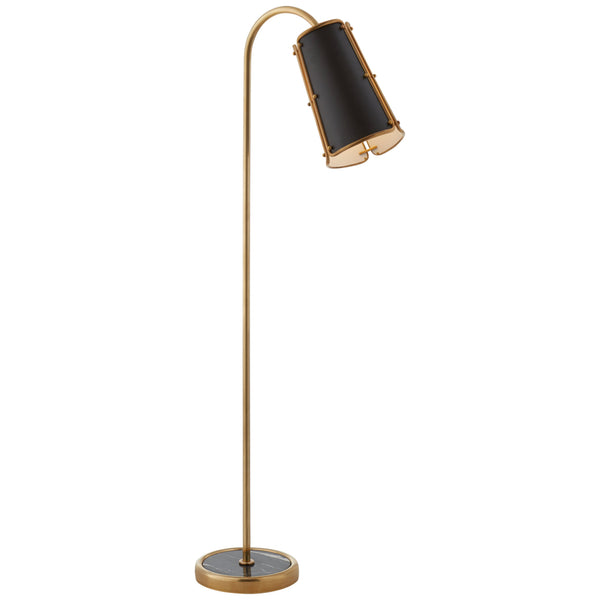 Visual Comfort S 1656HAB-BLK Carrier and Company Hastings Medium Floor Lamp in Hand-Rubbed Antique Brass
