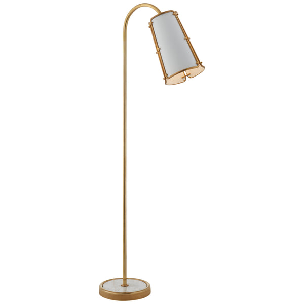 Visual Comfort S 1656HAB-WHT Carrier and Company Hastings Medium Floor Lamp in Hand-Rubbed Antique Brass