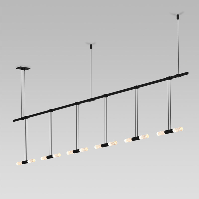"Sonneman S1U36K-MC06XXA2-RP13 Suspenders 36"" 2-Bar In-Line Linear with Crystal Double Glass Rod Luminaires in Satin Black"