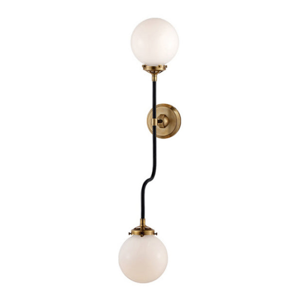 Visual Comfort S 2022HAB-WG Ian K. Fowler Bistro Double Wall Sconce in Hand-Rubbed Antique Brass