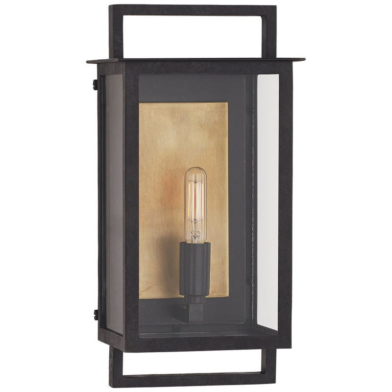 Visual Comfort S 2190AI-CG Ian K. Fowler Halle Small Wall Lantern in Aged Iron and Clear Glass
