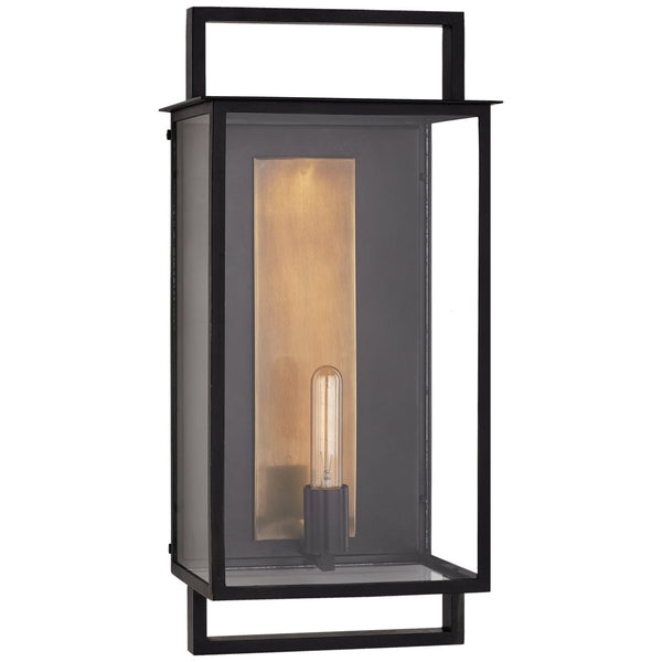 Visual Comfort S 2192AI-CG Ian K. Fowler Modern Halle Large Wall Lantern in Aged Iron and Clear Glass
