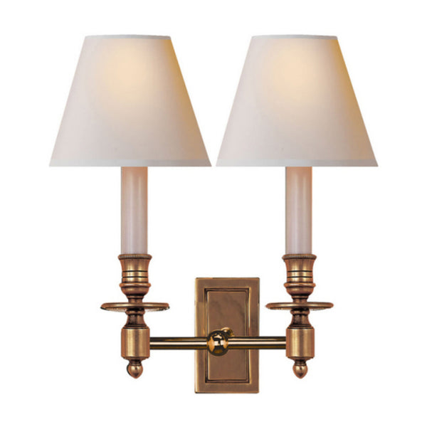 Visual Comfort S 2212HAB-NP Studio VC French Double Library Sconce in Hand-Rubbed Antique Brass