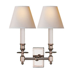 Visual Comfort S 2212PN-NP Studio VC French Double Library Sconce in Polished Nickel