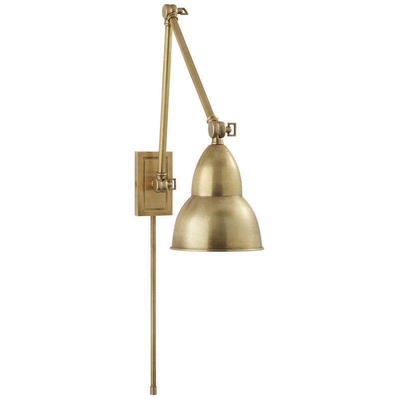 Visual Comfort S 2602HAB Studio VC French Library Double Arm Wall Lamp in Hand-Rubbed Antique Brass
