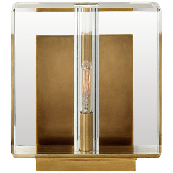 Visual Comfort S 2945CG/HAB Ian K. Fowler Ambar Small Wall Light in Crystal and Hand-Rubbed Antique Brass