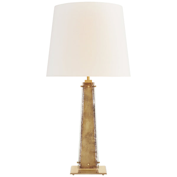 Visual Comfort S 3652HAB/AM-L Carrier and Company Cadence Large Table Lamp in Hand-Rubbed Antique Brass and Antique Mirror
