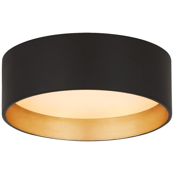 "Visual Comfort S 4040BLK Studio VC Modern Shaw 5"" Solitaire Flush Mount in Matte Black and Gild with White Glass"