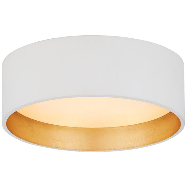"Visual Comfort S 4040WHT Studio VC Modern Shaw 5"" Solitaire Flush Mount in Matte White and Gild with White Glass"