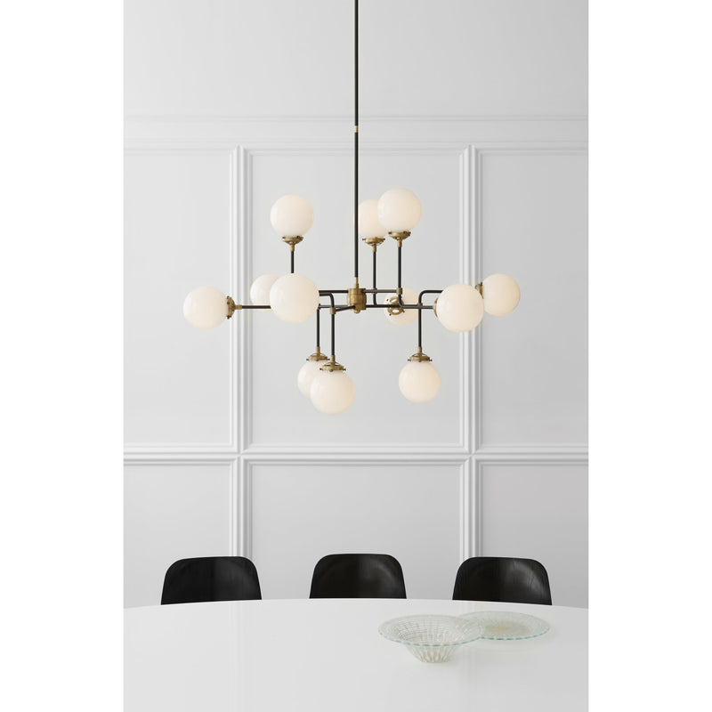 Visual Comfort S 5022HAB-WG Ian K. Fowler Bistro Medium Chandelier in Hand-Rubbed Antique Brass