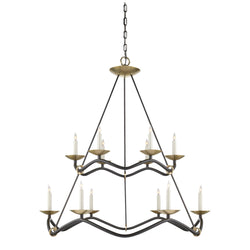 Visual Comfort S 5041AI Barry Goralnick Choros Two-Tier Chandelier in Aged Iron