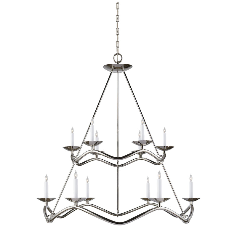 Visual Comfort S 5041PN Barry Goralnick Choros Two-Tier Chandelier in Polished Nickel