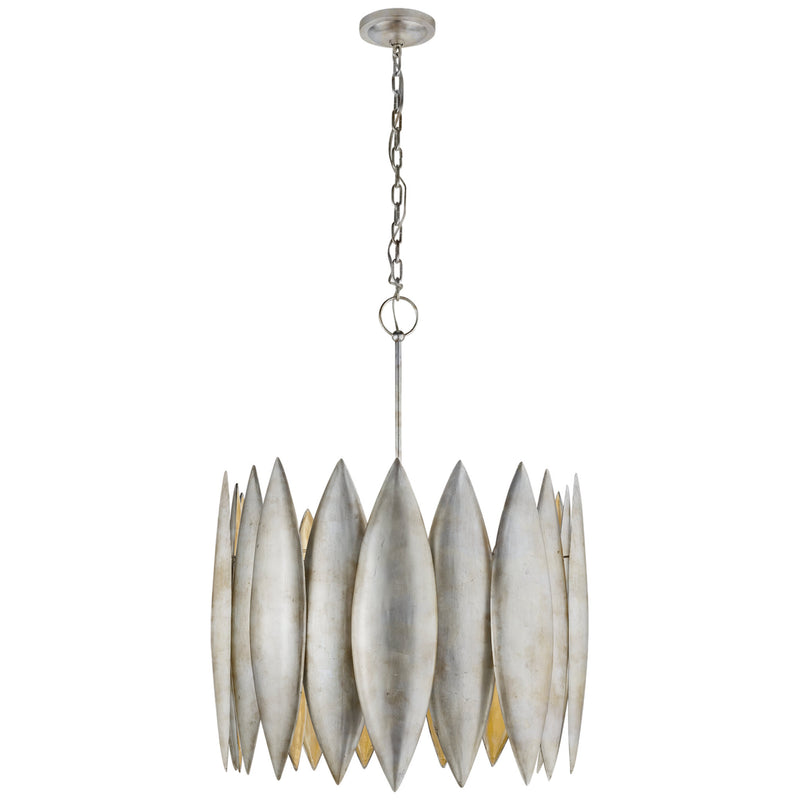Visual Comfort S 5048BSL Barry Goralnick Hatton Large Chandelier in Burnished Silver Leaf