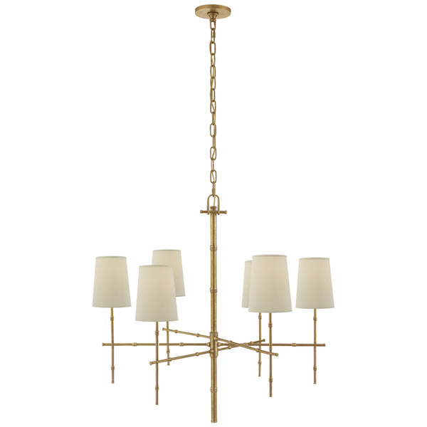 Visual Comfort S 5161HAB-PL Studio VC Grenol Medium Modern Bamboo Chandelier in Hand-Rubbed Antique Brass