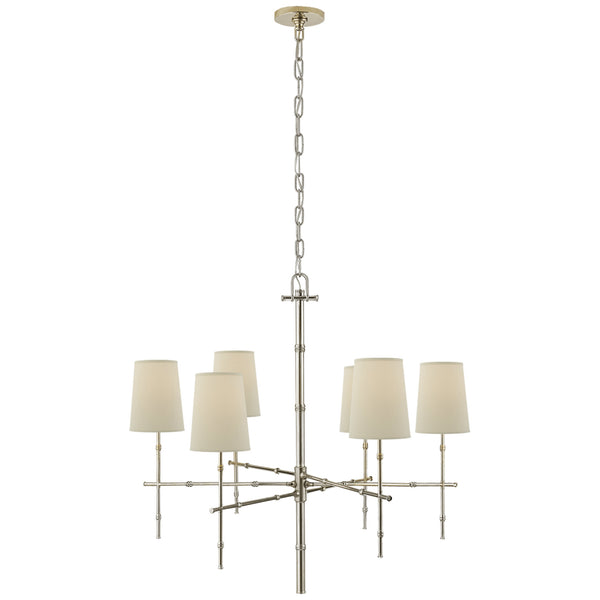 Visual Comfort S 5161PN-PL Studio VC Grenol Medium Modern Bamboo Chandelier in Polished Nickel