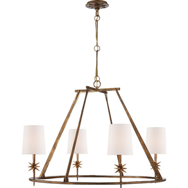 Visual Comfort S 5315GI-NP Ian K. Fowler Etoile Round Chandelier in Gilded Iron